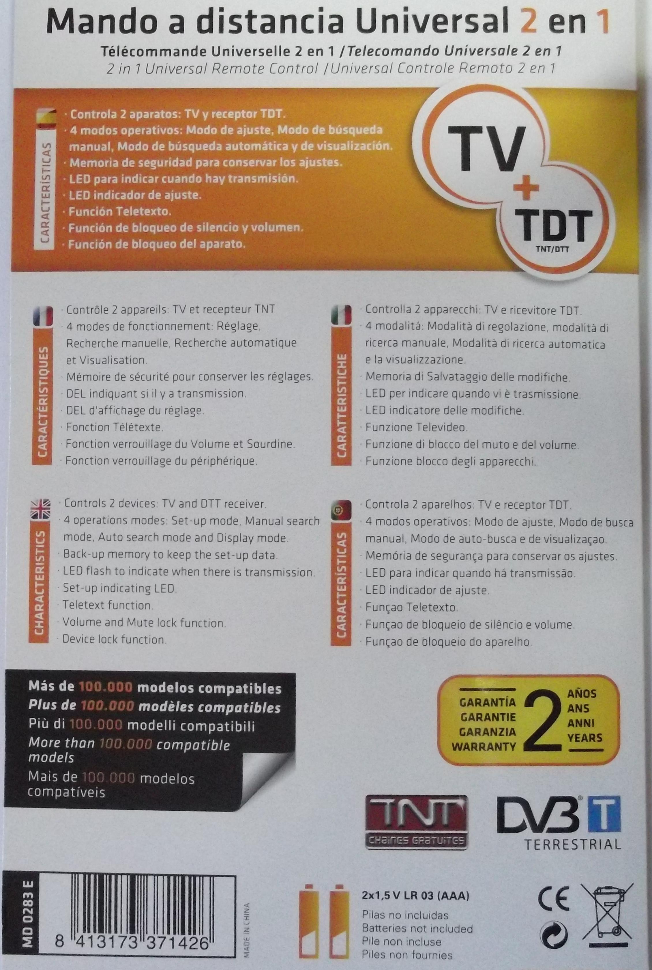 T l commande universelle tv tdt tnt dtt md0283e - Telecommande tnt universelle ...