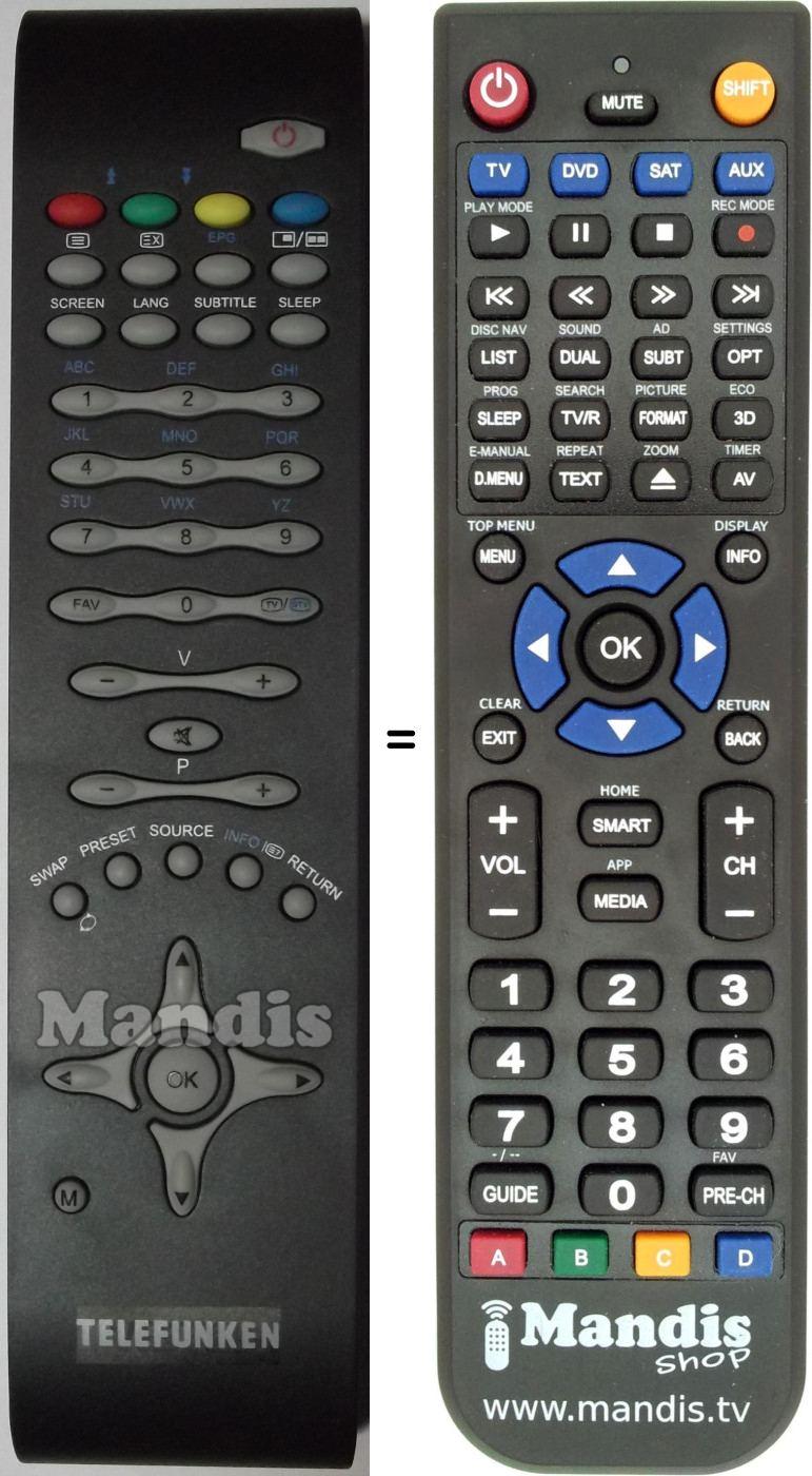 Replacement remote control TE 26857 B1